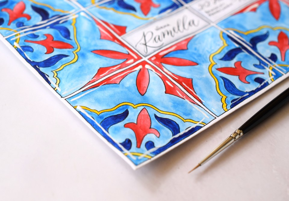 Pretty Watercolor Tiles Mail Art Tutorial