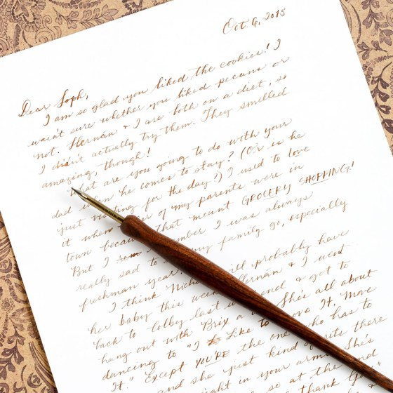 You can use a crowquill as a substitute for a regular pen. Your penmanship will have a lovely, vintage quality to it.
