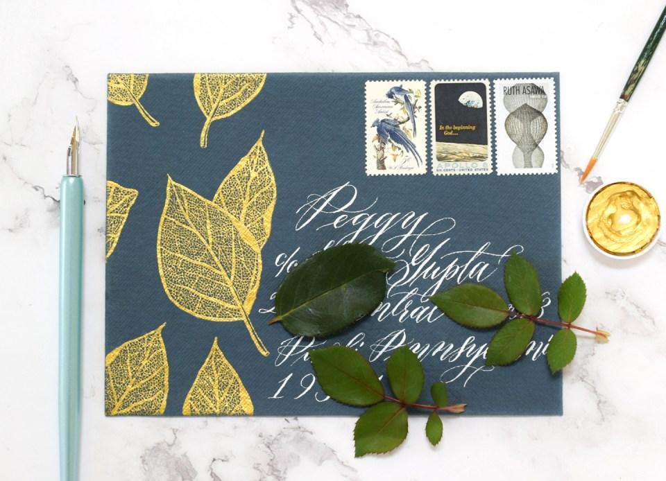 Stunning + Simple Filigree Illustrated Leaves Envelope Art