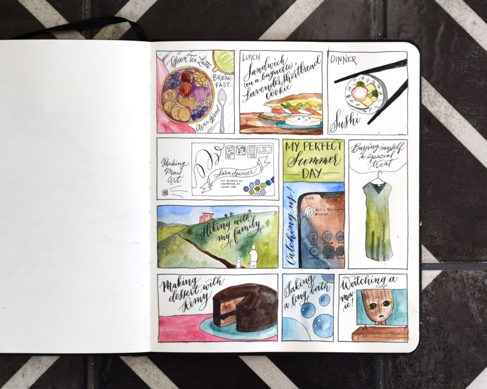 Adding watercolor to a sketchbook page