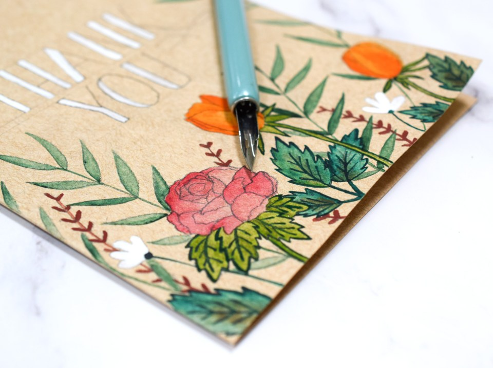 Watercolor Florals Kraft Card with outlined leaves