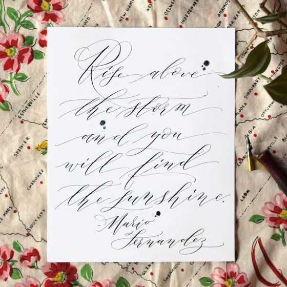 Ink spatters are a great addition to any Cocktail Casual calligraphy piece!