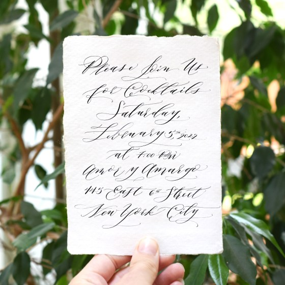 This luxe party invitation was created using Cocktail Casual Calligraphy.