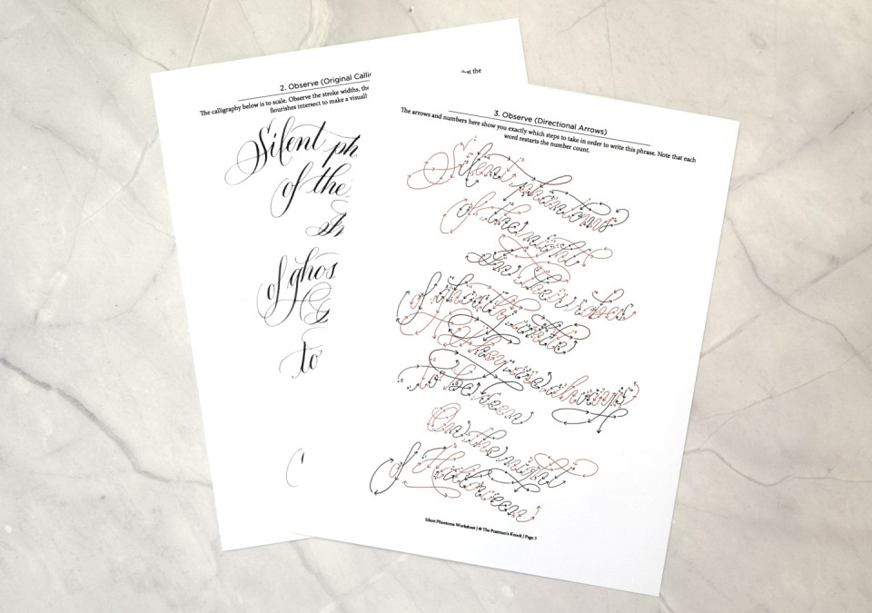 """Silent Phantoms"" calligraphy worksheet"