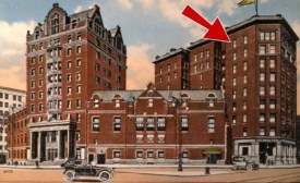Postcard of the Genesee Hotel showing the window from which Mary Miller jumped. Photo courtesy Cultural Ghosts.