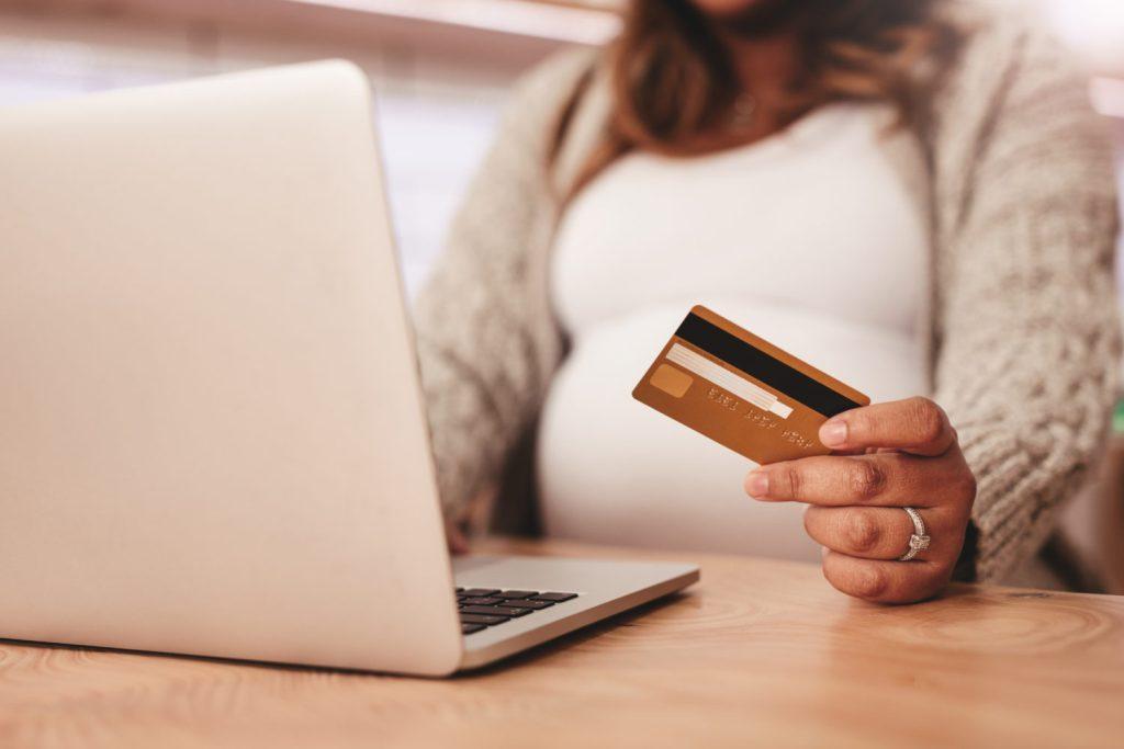 Pregnant woman shopping Amazon Prime Day