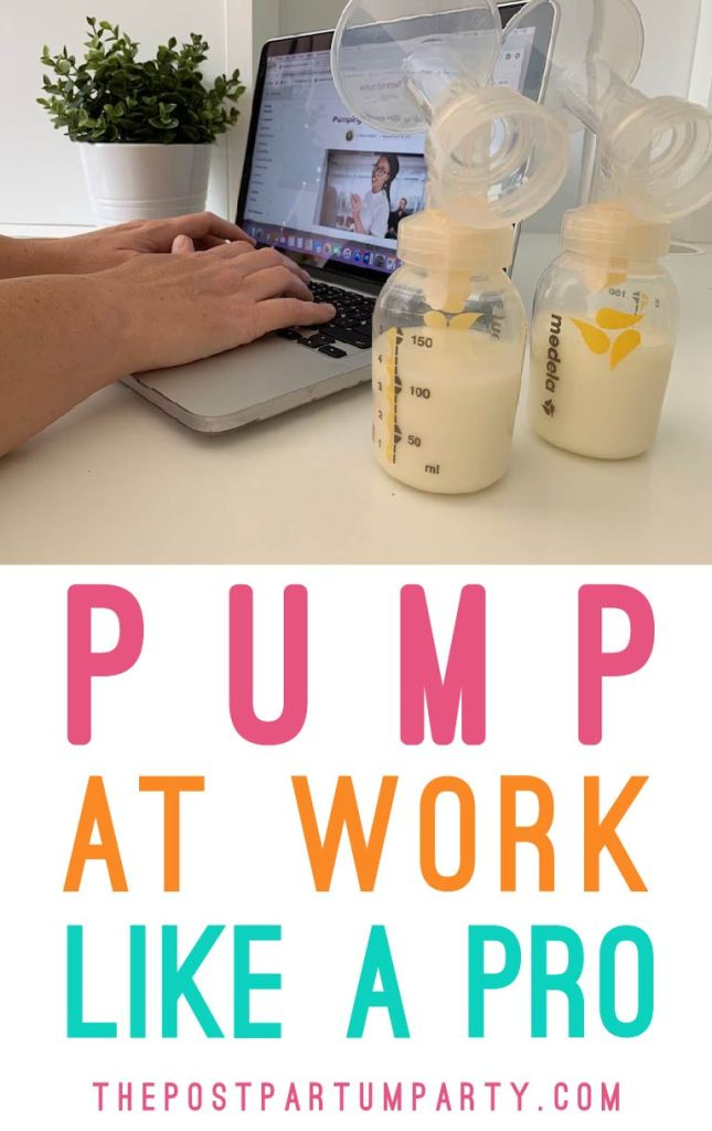 Pinterest image of mom on work computer pumping breast milk breast pumping tips