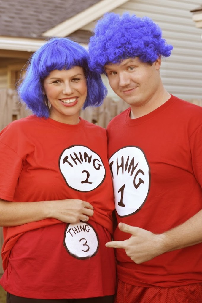 Thing 1 and 2 halloween pregnancy announcement