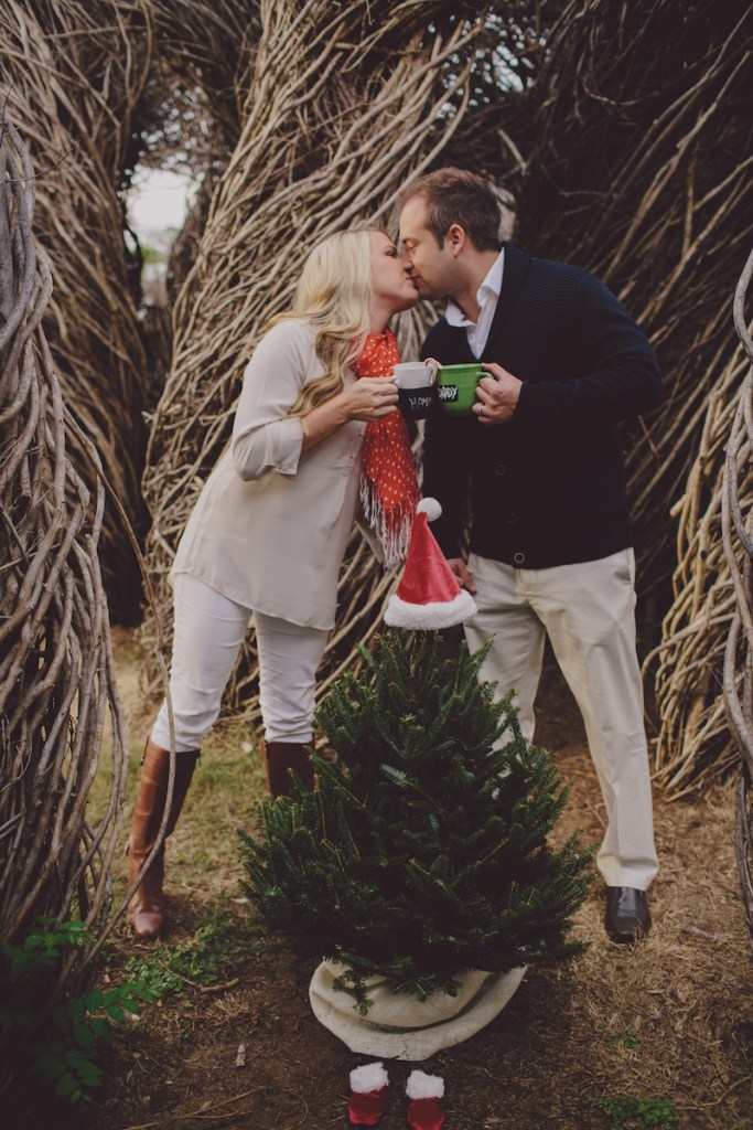 Christmas pregnancy announcement with tree