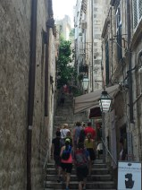 Narrow streets and stairways lead to homes, shopes, and numberous cafes and bars