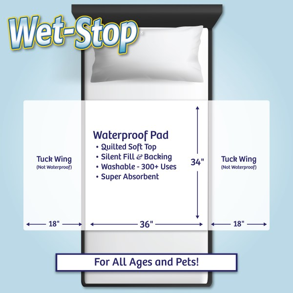 "Wet-Stop mattress pad is soft, silent, quilted, washable, waterproof - 36"" wide by 34"" long coverage, with 18"" wing on each side of pad to tuck under mattress for secure placement."
