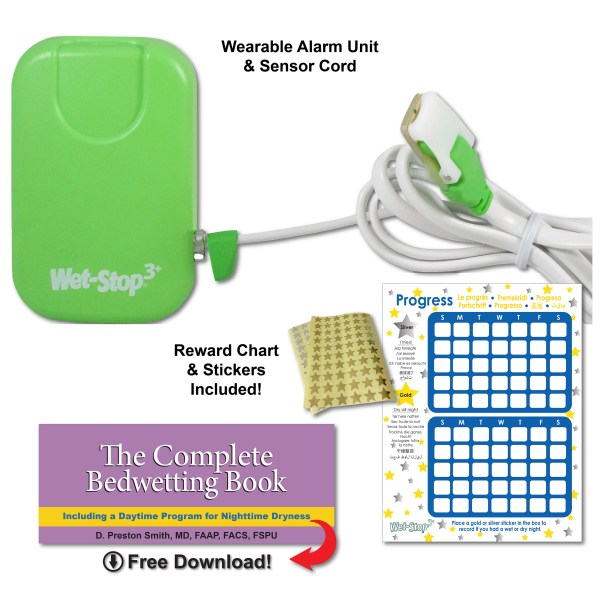 Green Wet-Stop 3+ alarm kit includes alarm, sensor cord, progress chart and star stickers, and a downloadable book for parents to better understand issues and answers.