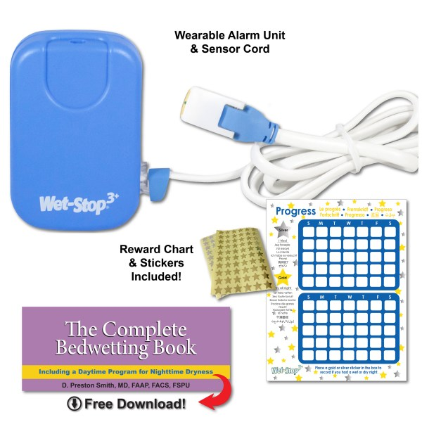 Blue Wet-Stop 3+ alarm kit includes alarm, sensor cord, progress chart and star stickers, and a downloadable book for parents to better understand issues and answers.