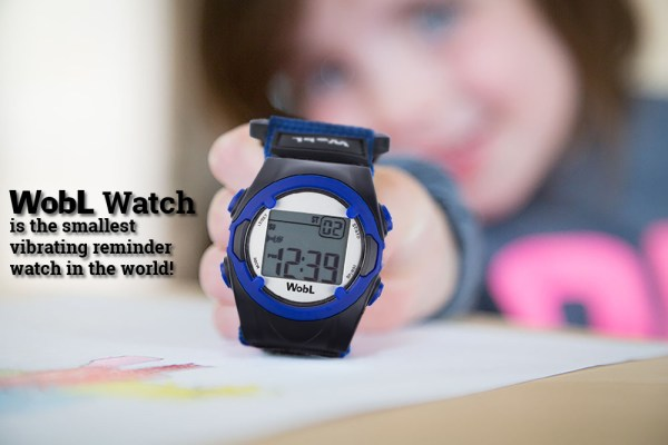 WobL Watch with repeating countdown timer for potty training reminders; 8 alarms; water resistant.