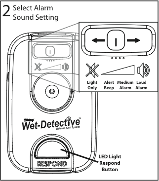 Wet-Detective alarm - graphic illustration of alarm sound settings.