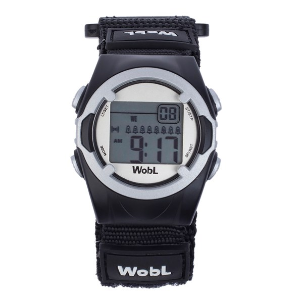 WobL vibrating alarm reminder watch, black; for potty training, medication reminders, meeting reminders, and more.