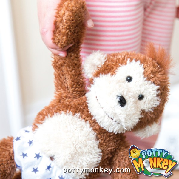 Potty Monkey talking plush doll for potty training.