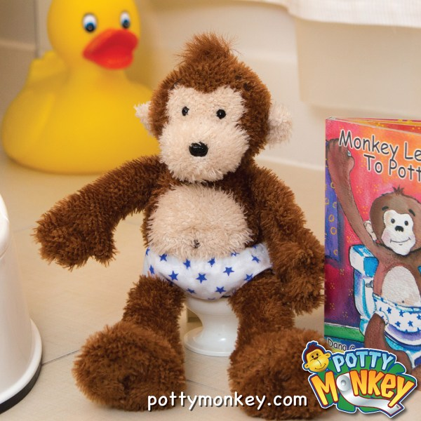 Potty Monkey sitting on his toilet to encourage good potty training and habits in children.