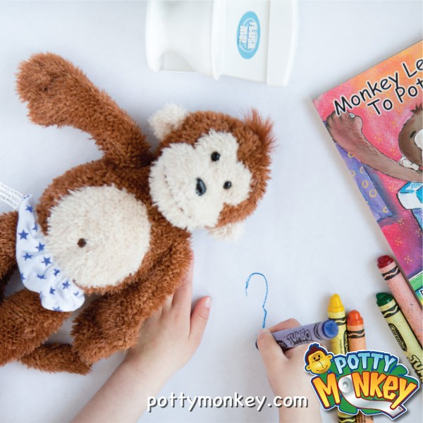 Potty Monkey talking doll and flushing-sounds toilet for potty training.