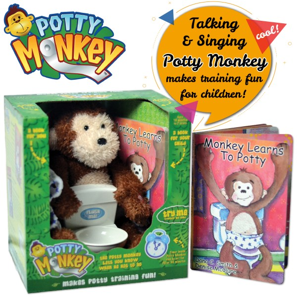 Potty Monkey system for successful potty training includes talking potty monkey, flushing-sounds toilet, children's board book, parents' informational book, and a downloadable potty chart and certificate.