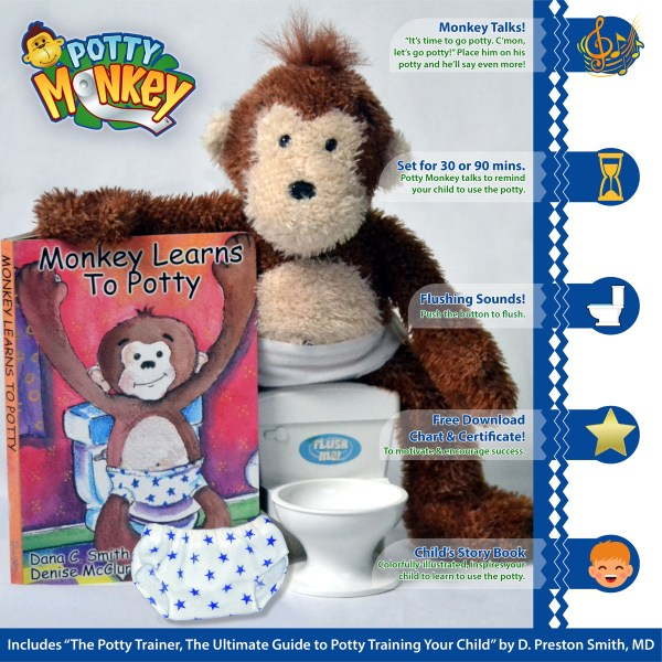 Potty Monkey with interactive flushing-sounds toilet, big kid underwear, and children's board book. Features detailed in image.