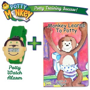 """Potty Monkey watch packaged with child's board book """"Monkey Learns to Potty"""" for potty training success."""