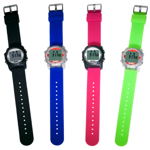 Waterproof WobL+ vibrating alarm watch with 9 alarms & repeating countdown timer for potty training, medication, and meeting reminders.