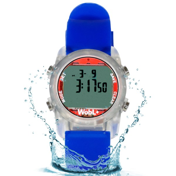 Blue waterproof WobL+ vibrating alarm watch with 9 alarms & repeating countdown timer for potty training, medication, and meeting reminders.