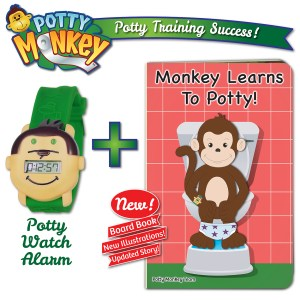 Potty Monkey potty watch packaged with Monkey Learns To Potty 2019 edition board book - book updated with new illustrations and an expanded story - now even more helpful to encourage successful potty training!