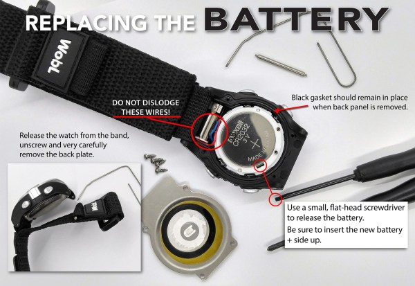 Battery instructions: release watch from band, remove back, remove and replace battery.