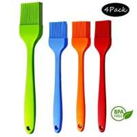 """Basting Brush Silicone Pastry Baking Brush BBQ Sauce Marinade Meat Glazing Oil Brush Heat Resistant , Kitchen Cooking Baste Pastries Cakes Meat Desserts, Dishwasher Safe 4Pack (10.2""""+ 3 8.2"""" - 4Pack)"""