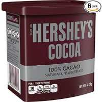 HERSHEY'S Natural Unsweetened 100% Hot Cocoa, Baking, 8 Ounce Can (Pack of 6)