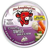 The Laughing Cow Creamy Swiss with Garlic & Herbs (Pack of 2) 8 Wedges per Pack
