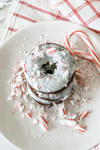 Two Point Chocolate Candy Cane Donuts