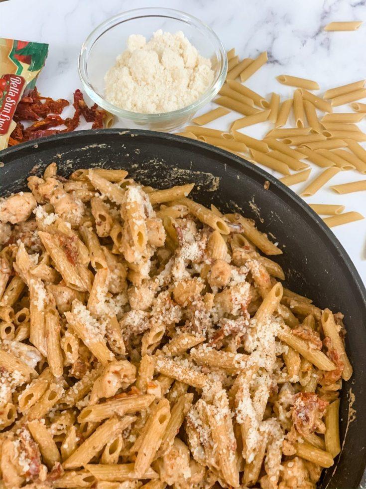 CreamySun-Dried Tomato Penne Pasta with Chicken