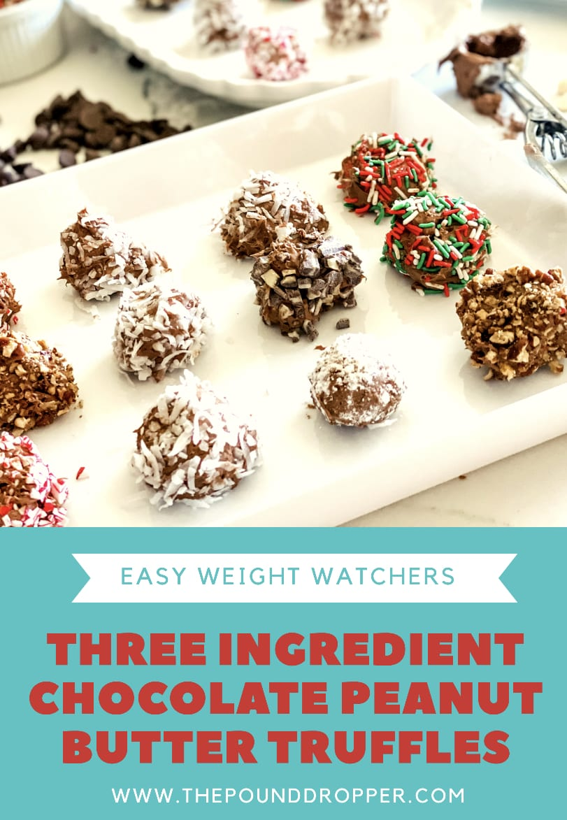 These Three Ingredient Chocolate Peanut Butter Truffle are bite sized treats-made with sugar free cool whip, peanut butter, and no sugar added chocolate chips-making them light yet delicate! Simple to make and perfect for holidays! via @pounddropper