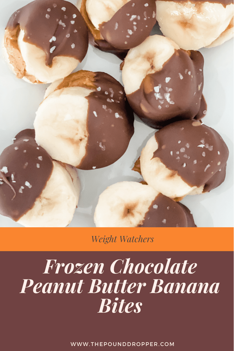 These frozen chocolate covered peanut butter banana bites are the perfect snack, treat, or dessert! These banana bites are quick and easy to make and requires only 4 ingredients!! via @pounddropper