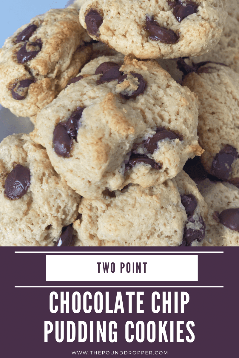 These Two Point Chocolate Chip Pudding Cookies are insanely thick, soft, and chewy, and make for the BEST low point cookie-I guarantee EVERY cookie lover will LOVE these!! via @pounddropper