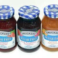 Smuckers Sugar Free Preserves: 1 Apricot, Red Raspberry, Strawberry Preserves
