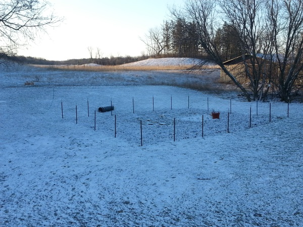 My garden-to-be with snow in April!