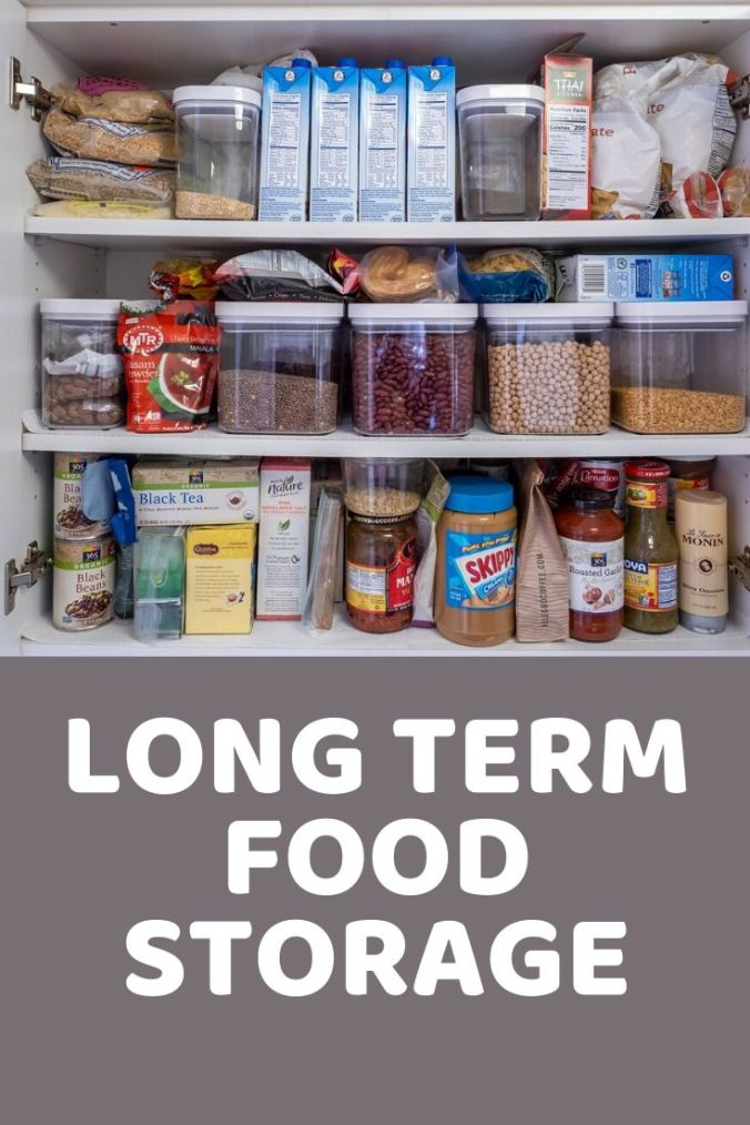 Long term food storage in a cabinet
