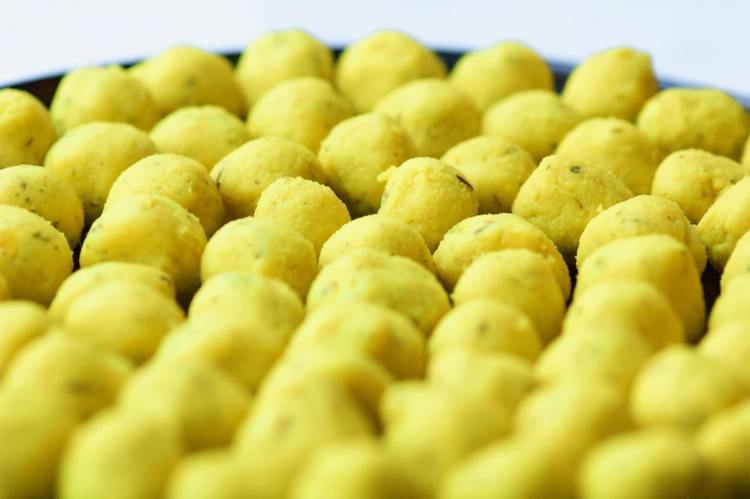 Rows and rows of dal pierogi filling rolled into 1 teaspoon balls.