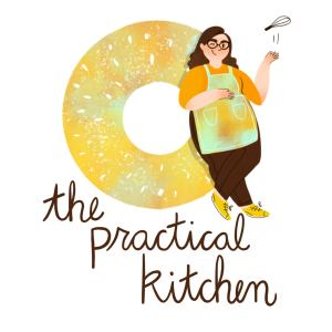 the practical kitchen logo with one large bagel standing upright. an illustrated portrait of rebecca leans against the bagel tossing a whisk in the air.