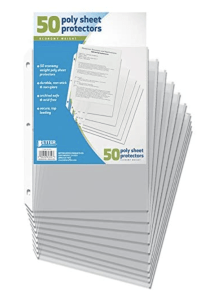 50 plastic sheet protectors