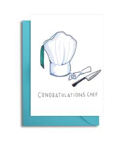 """a white card with a drawing of a chef hat, a diploma, and a knife that says """"congratulations chef"""""""