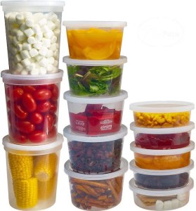 stacks of 32 oz, 16 oz, and 8 oz round deli soup containers with lids