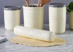 mason cash rolling pin and flour shaker