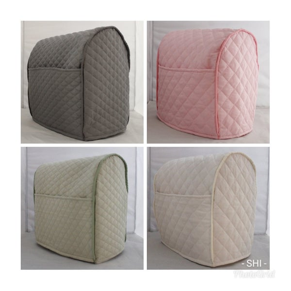 four photos of quilted mixer covers in different colors