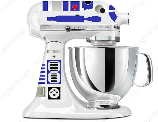 a white mixer with R2-D2 decals on it
