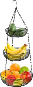 a black wire three tier hanging basket